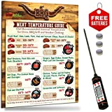 Highly Accurate Digital Meat Thermometer + Best Design Meat Temperature Guide Magnet for Oven BBQ Grill Cooking. USDA Safety & Chef Recommended Internal Meat Temperature.