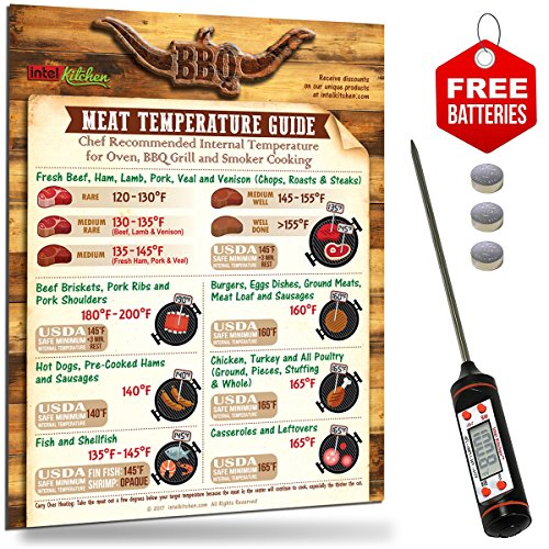 Accurate Digital BBQ Thermometer + Meat Temperature Guide Magnet + 2 Sets of Free Batteries for Oven BBQ Grill Cooking. USDA Safety & Chef Recommended Internal Meat Temperature Barbecue Grill Gift