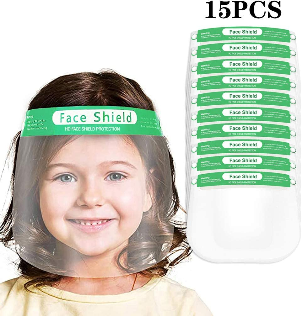 Kids Face Shields Children Anti-Fog Face Protective Lightweight Transparent Safety Shield with Elastic Band for Children