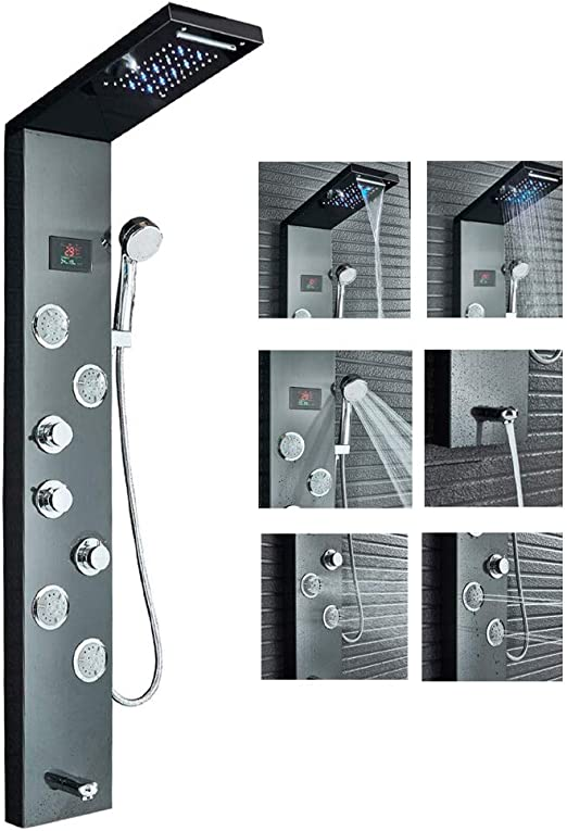 rozin Black Shower Tower Sistema de acero inoxidable con LED de ...