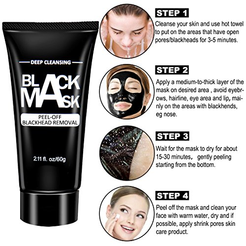 51komV2GmAL Colovis Blackhead Remover Bamboo charcoal Black Mask, Deep Cleansing Purifying Peel Off Mask (2pack)