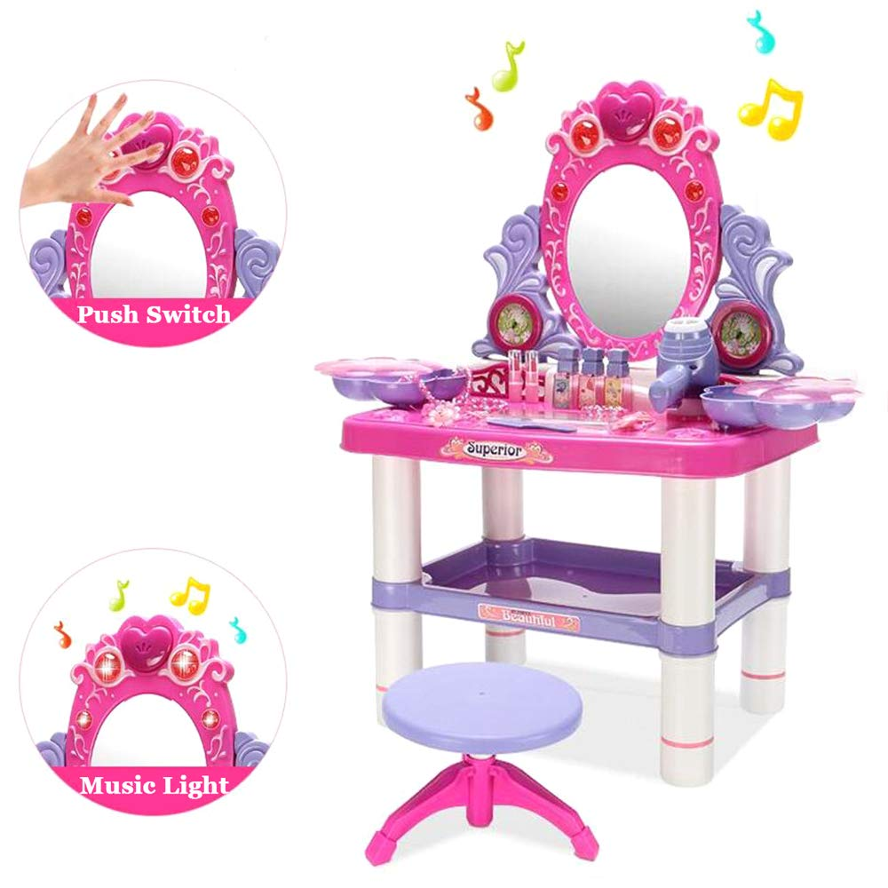 JFMBJS Kids Pretend Play Vanity Table and Chair Beauty Play Set, with Fashion and Makeup Accessories for Girls