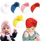 Newborn Baby Head Wrap Hat Infant Cotton Soft Cute Nursery Beanie Headband Top Flower for Boy Girl (Color: 5 Pcs Flower/3m-3years, Tamaño: Baby)