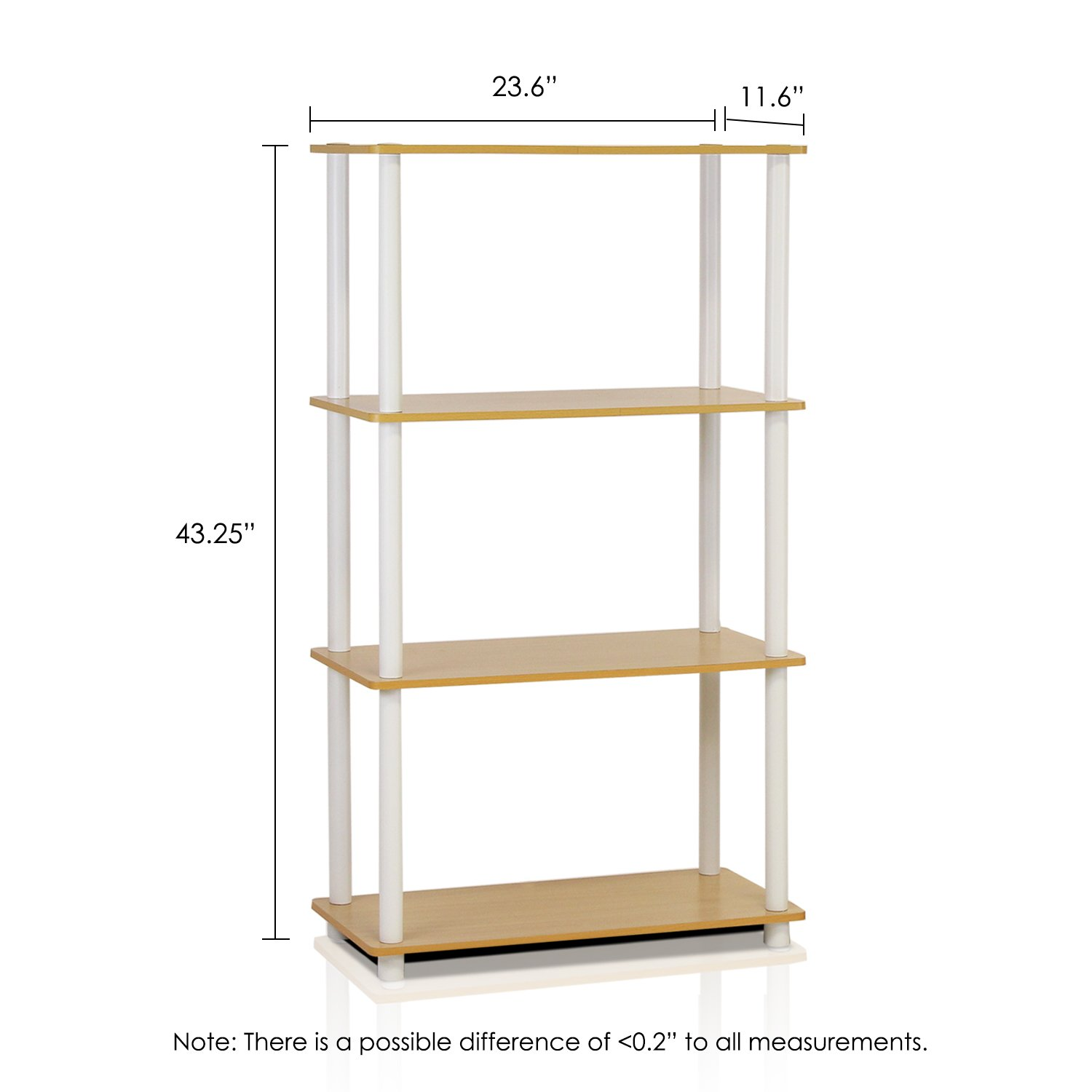 Furinno (99557BE/WH) Turn-N-Tube 4-Tier Multipurpose Shelf Display Rack - Beech/White by Furinno (Image #2)