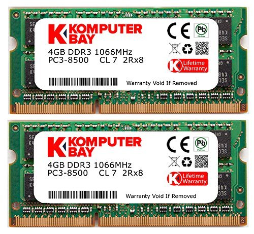 - Komputerbay 8GB Dual Channel Kit 2x 4GB 204pin 1.5v DDR3-1066 SO-DIMM 1066/8500S ( 1066MHz, CL7 ) for MAC and PC