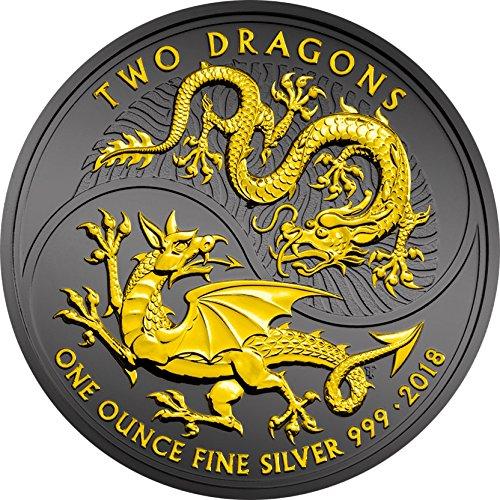(2018 GB Modern Commemorative PowerCoin TWO DRAGONS Ruthenium 1 Oz Silver Coin 2£ United Kingdom 2018 BU Brilliant Uncirculated)