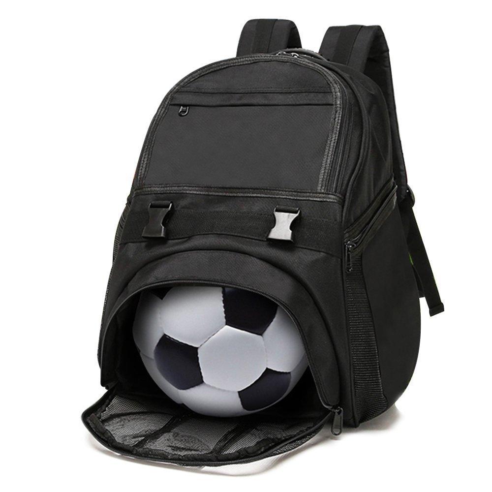 Lucky Gourd 防水オックスフォードサッカーバックパック 独立ボールホルダーコンパートメント付き ブラック   B074QPBHXV
