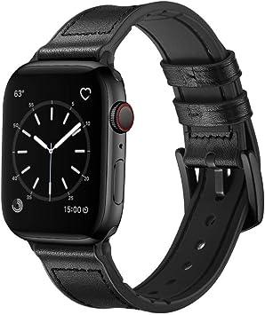 iBazal Correa Compatible con iWatch Series 4 Correa 44mm Cuero 42mm Series 3 2 1 Piel Banda Híbrida Silicona Goma Caucho Pulseras reemplazo para Apple Watch Mujeres Reloj - Híbridas Negro 42/44: Amazon.es: Electrónica