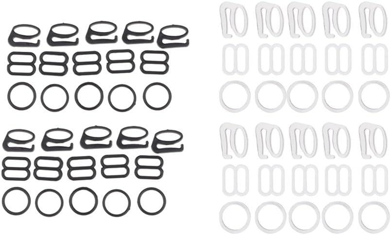 Baoblaze 20 Sets Sujetador De Nylon Lencer/ía Correa Clip Gancho Slider O Ring Buckle Bikini Fasteners