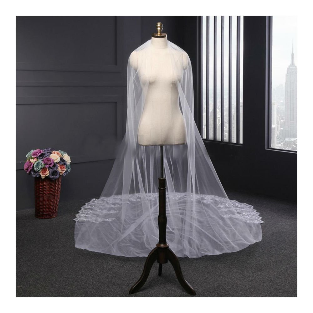 Ivory 4m White Ivory Luxury 1T Cathedral Wedding Lace Sequins Long Veil With Comb