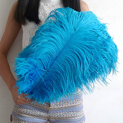 5 PCS Ostrich Feathers 22-24 Inch(55-60cm) for Home Wedding Decoration (Sky Blue)