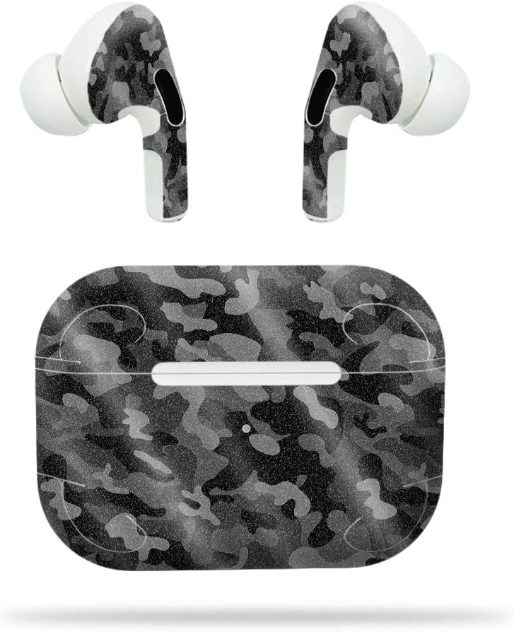 MightySkins Glossy Glitter Skin for Apple AirPods Pro - Black Camo | Protective, Durable High-Gloss Glitter Finish | Easy to Apply, Remove, and Change Styles | Made in The USA (GL-APAIPOPR-Black Camo)