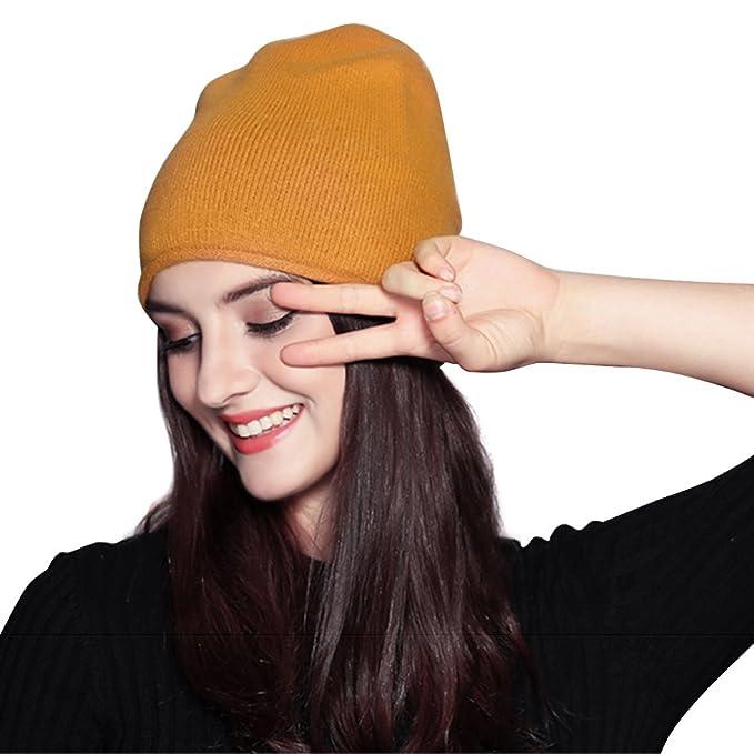 d81ba9491 FLY HAWK Gorro de Lana Beanie Casquillos Calientes Bufanda Las Mujeres del  Invierno - Boinas Sombrero