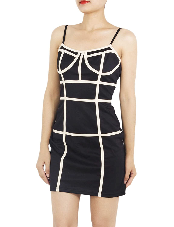 iB-iP Women'S Spaghetti Strap Neo Slim Fit Pencil Jumper Mid-Thigh Bodycon Dress