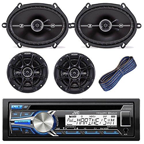 "JVC KD-R85MBS Car Marine Motorcycle Sports Stereo Bundle Kit with 2 Kicker DSC693 6x9 Coaxial 3-Way Car Speaker + Kicker DSC654 6.5"" Coaxial 2-Way Speaker + Kicker KW1620 20-Feet 16-AWG Speaker Wire"