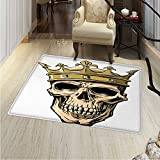 King Rugs for Bedroom Dead Skull Skeleton Head with Royal Holy Crown Tiara Hand Drawn Image Circle Rugs for Living Room 40''x55'' Golden and Pale Brown