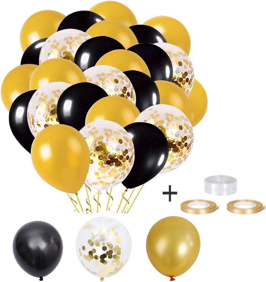 Elion Globos de Fiesta, Globos de Latex, Globos de Oro Negro, 60 Piezas Globos Helio de Confeti para Decoraciones de Cumpleaños,Navidad, Aniversario, Boda Graduación Halloween Decoraciones