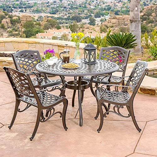 Patio Dining Set. 5 Piece Outdoor Porch, Deck, Lawn, Pool, Garden, Balcony Diner, Conversation, Seating, Bistro, Chat Aluminum Furniture Kit. Outside Round Table, - Square Umbrella Aluminum Patterned