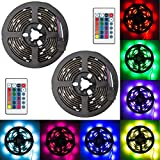 EEEKit 2-pack Super Bright 5050SMD RGB Color Changable LED Light, 3.3ft Battery Powered Strip Lamp Backlight, for Car Bike Party Color Changing