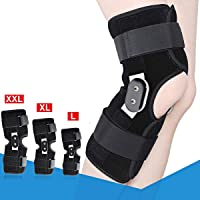 1PC Hinged Knee Brace Suppor,Aluminium Knee Twin Hinged Support Medical Grade Breathable Open Patella Brace