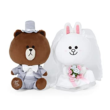 LINE FRIENDS Brown & Cony Wedding Plush Doll conjunto de muñeca de peluche de boda sentado