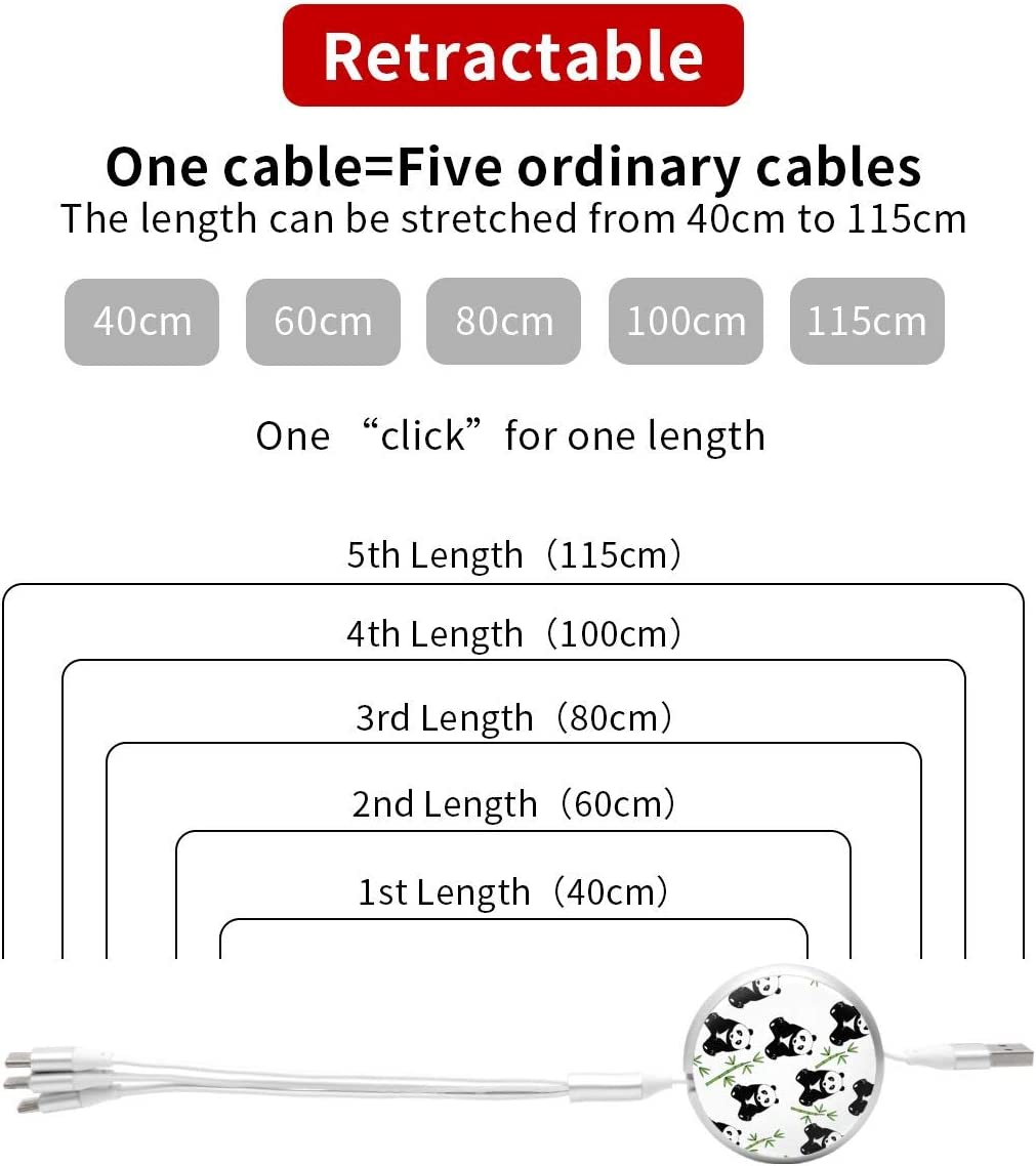 Cute Panda Bamboo 3 in 1 USB Multi Function Charging Cable Data Transmission USB Cable for Mobile Phones and Tablets Compatible with Various Models with Storage Bag