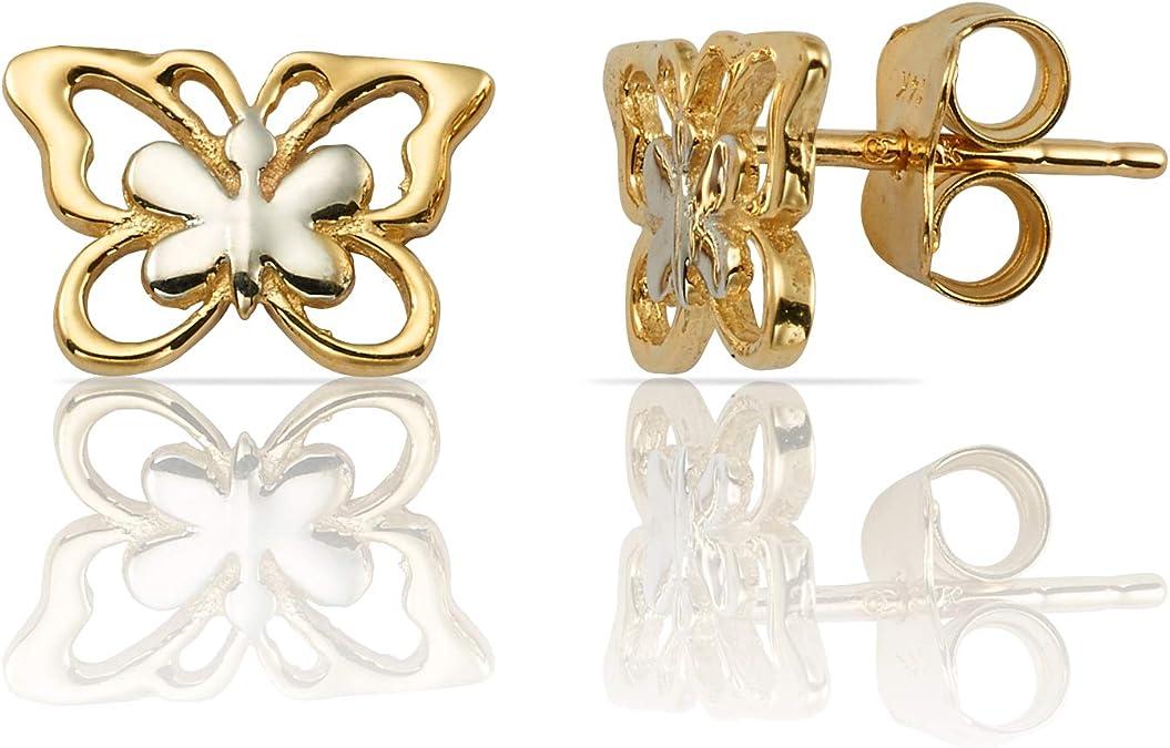New SALE Price 9ct Gold Love Heart Stud Earrings Butterfly Backs