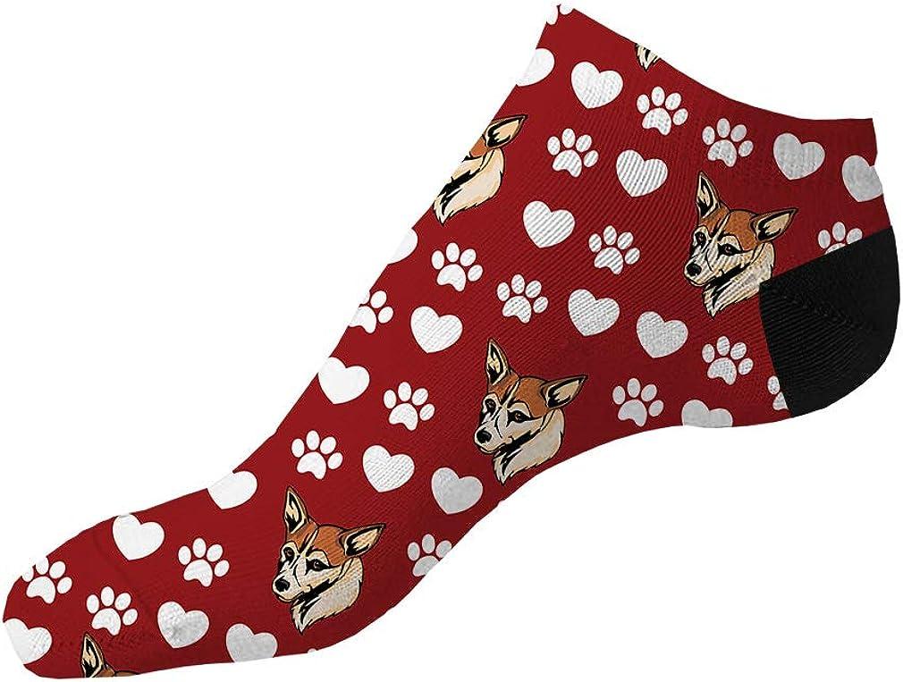 Norwegian Lundehund Dog Red Pattern Men-Women Adult Ankle Socks