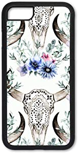 Cell Phone Cover - Slim Fit - Compatible with Apple iPhone 7 Plus and 8 Plus - Bull Skull and Blue Flowers