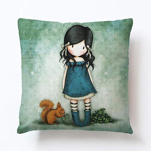 Almohada de niña y ardilla Impreso Sofá Cojín decorativo ...