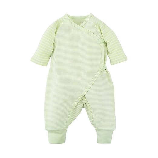 211742d4f Under the Nile Baby Unisex Long Sleeve Side Snap Kimono Sage Stripe Organic  Cotton (0