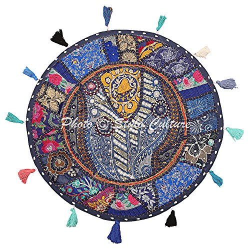Stylo Culture Round Ethnic Indian Floor Pillow Cover Cotton Vintage Embroidered Patchwork Blue 22