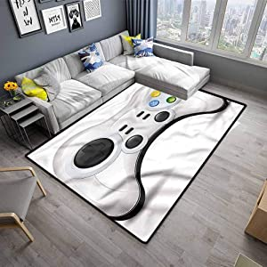 Indoor Area Rug Gamer for Kitchen Rugs Modern Gaming Concept Buttons (5'x8')