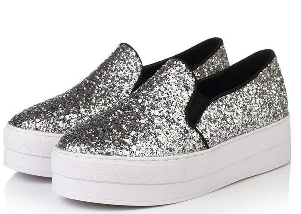 Dicke Sohle Sohle Sohle Pailletten - Freizeit - Fu - Schuhe,Silber,35 (Farbe   Wie Gezeigt Größe   Einheitsgröße) d7b712