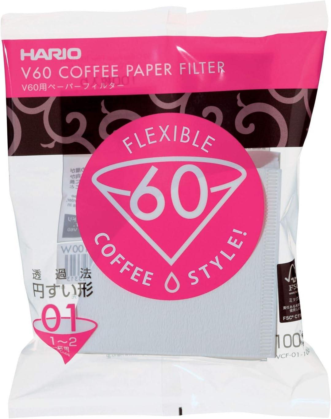 Hario v60 01 Filterpapier für Handfilter 1-2 Tassen Filtertüten VCF-01-100W