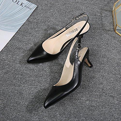 Para Parte Con Zapatos Tiras Black Mujer Ochenta pu Trasera La En Tacón Y De Espigones Hebillas Clásicos XOxwP4xdq