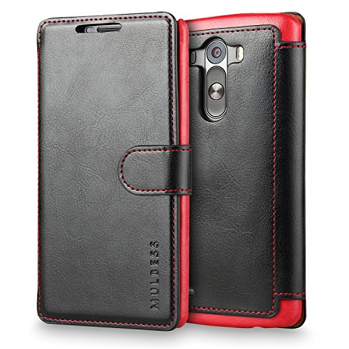 LG G3 Case Wallet,Mulbess [Layered Dandy][Vintage Series][Black] - [Ultra Slim][Wallet Case] - Leather Flip Cover With Credit Card Slot for LG G3