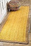nuLOOM Natural Fibers Border Jute Runner Area Rugs, 2' 6'' x 8', Yellow