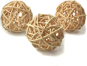 Ougual Set of 10pcs Wicker Rattan Balls Table Wedding Party Christmas Decoration (Diameter 2 Inch, Natural Color)