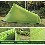 Andake 1.6lb Ultralight Backpacking Tents One Person Man Hiking Single Camping Tent 15D Ultra-Thin Ripstop Nylon, Double-Side Silicone Coated(No Poles)