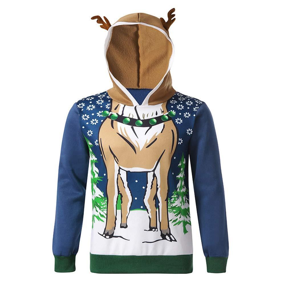 Zolimx Herren Pullover Weihnachten Mä nner Herbst Winter Samt-Nä hten Hoodie Rentier Feather Hooded Christmas Fur 3D Bluse Top