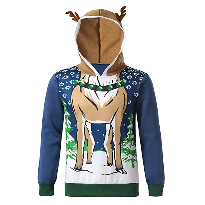 ... Sudadera con Capucha Suéter De Terciopelo Navideño para Hombre Suéter De Manga Larga con Capucha Navidad Blusa Superior 3D: Amazon.es: Ropa y accesorios