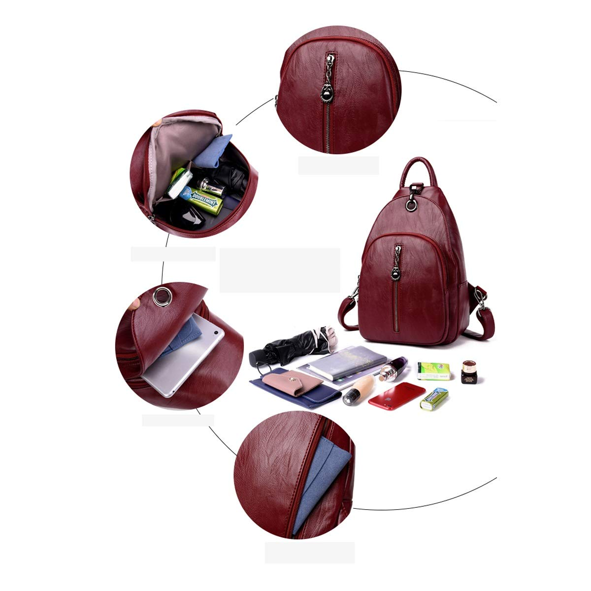 PU Leather Stylish and Generous ZHICHUANG Girls Multipurpose Backpack for Daily Travel//Outdoor//Travel//School//Work//Fashion//Leisure for Women /& Men Five Colors