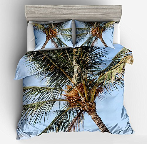 Wonderful Blue Sky Palm Tree Cotton Microfiber 3pc 104''x90'' Bedding Quilt Duvet Cover Sets 2 Pillow Cases King Size by DIY Duvetcover
