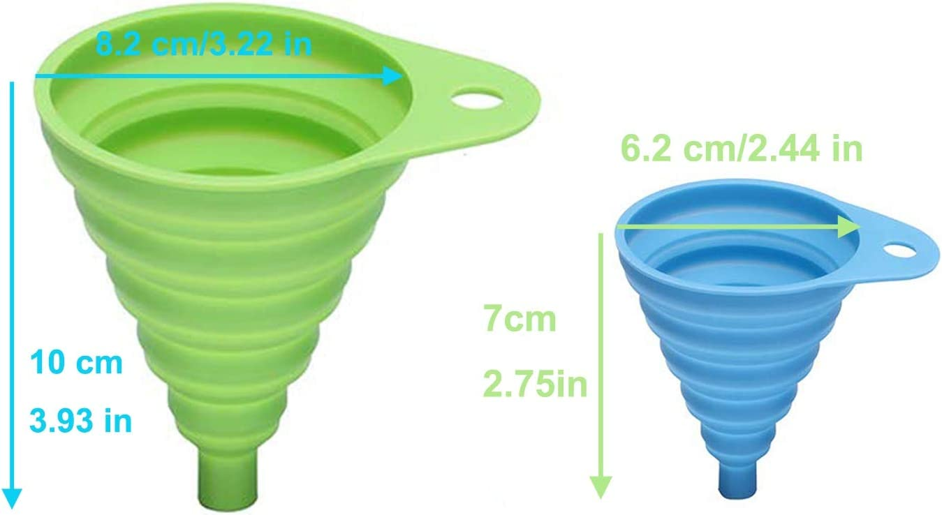 green+BLUE 2 Pieces Sizes /& Colors Portable Mini Kitchen Silicone Collapsible Funnel