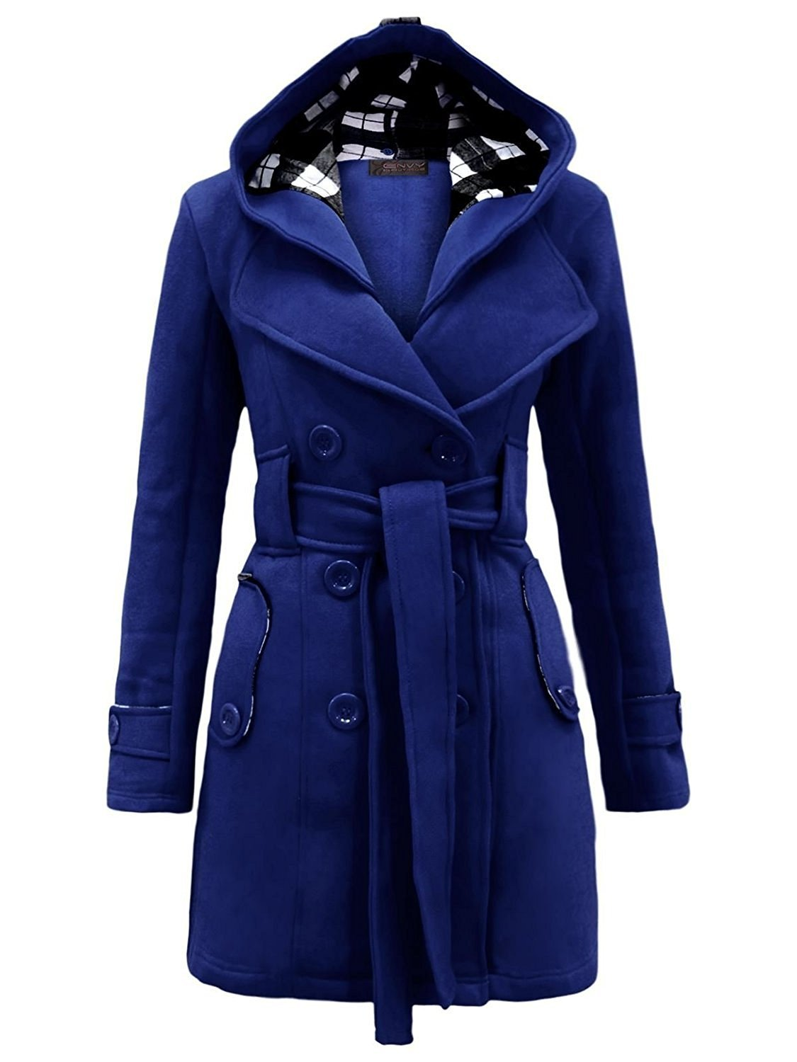 Aro Lora Women's Military Belted Fleece Button Coat Check Hood Jacket X-Large Blue