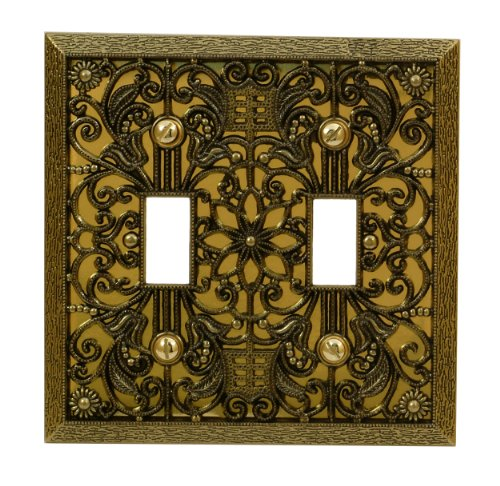 Antique Double Plate - AmerTac 65TTAB Amerelle Filigree 2 Toggle Switch Wallplate, Antique Brass