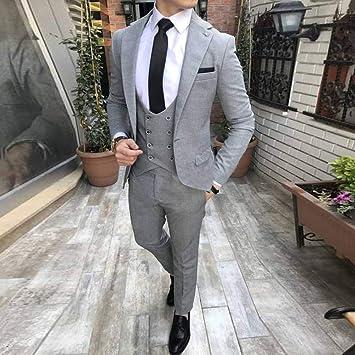GFRBJK 2019 Gris por Encargo Trajes de Boda para Hombres Solapa con Muesca Slim Fit 3 Piezas (Chaqueta + Chaleco + Pantalones) Novio de Bodas Prom Tuxedos, como Imagen, XXL: Amazon.es: Deportes