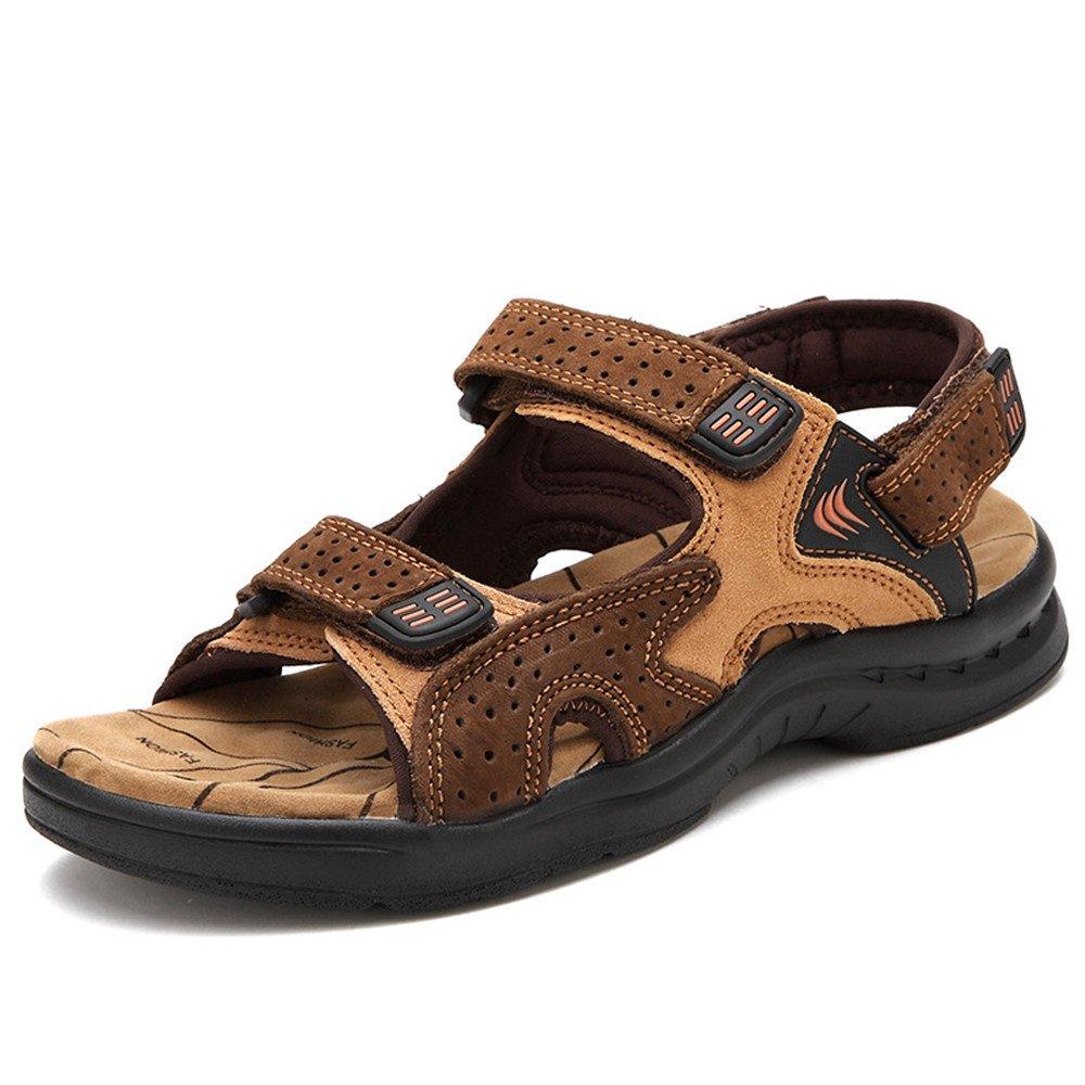 Sandalias de Cuero de los Zapatos Cómodos Ocasionales de los Hombres del Dedo del pie Sandalias convenientes para los Deportes de Ocio Interiores y al Aire Libre 42 2/3 EU Coffee