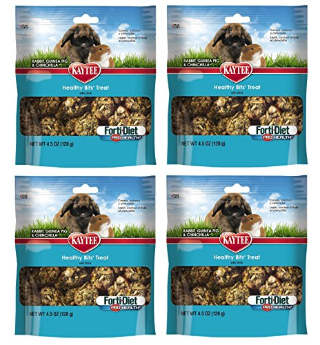 (4 Pack) Kaytee Forti-Diet Pro Health Healthy Bits Rabbit, Guinea Pig and Chinchilla Treat - Bits Healthy Healthy